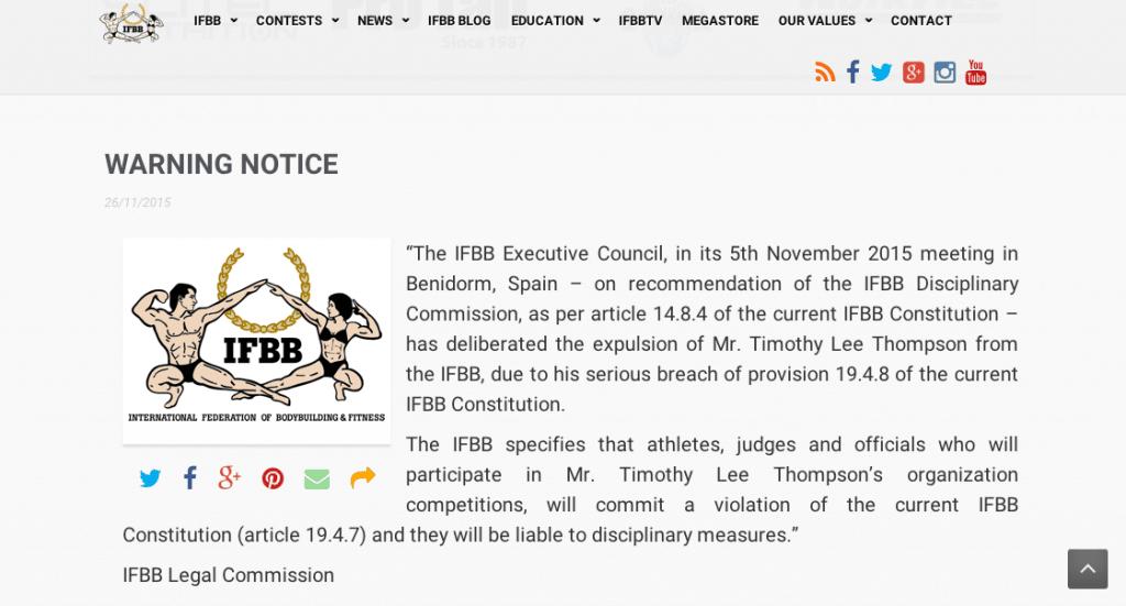 IFBB warning