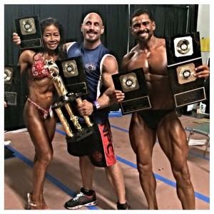 Diane Nguyen Ironman Naturally >35, >45 Figure Champ, Coach Jeff Behar, and Jose Velasquez, 2015 Ironman Naturally Novice Champ, Masters Champ and Overall Champ