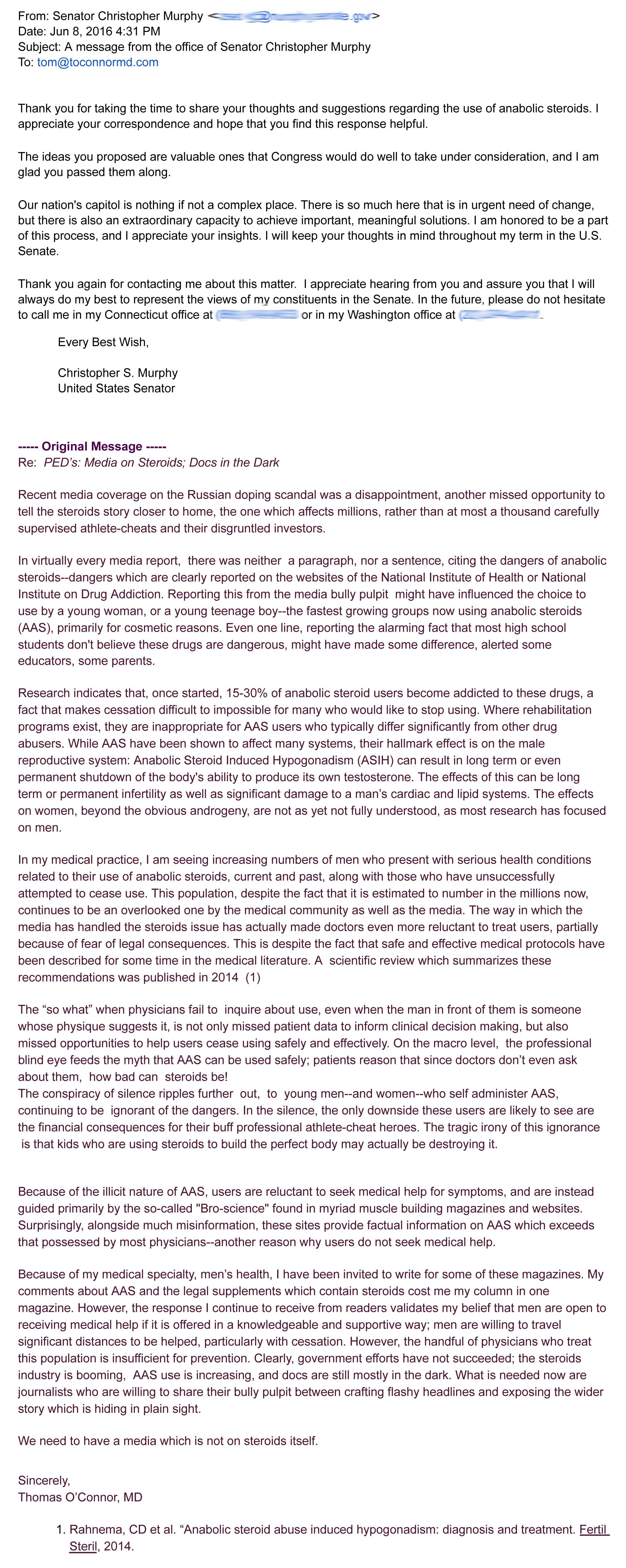 Letter from Senator Christopher Murphy